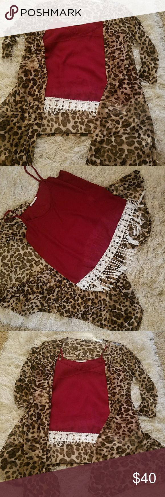 Leopard cardigan with fringe tank top Lightweight cardigan with red tank. Fashion Nova Tops Blouses