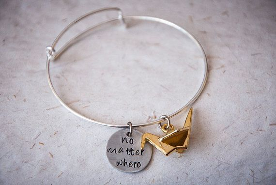No matter where  bangle bracelet with origami by SilviaWithLove