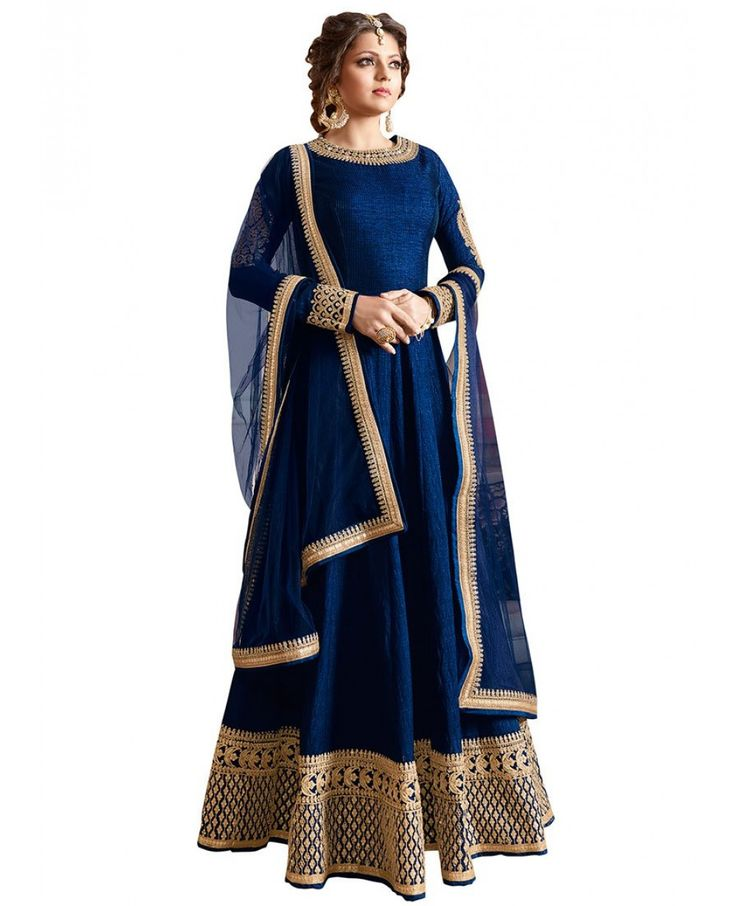 Look like beautiful Drashti Dhami in this navy blue art raw silk anarkali suit with lucknowi cording work with sequin on lower part of the kameez and neckline. Comes with matching bottom and dupatta.