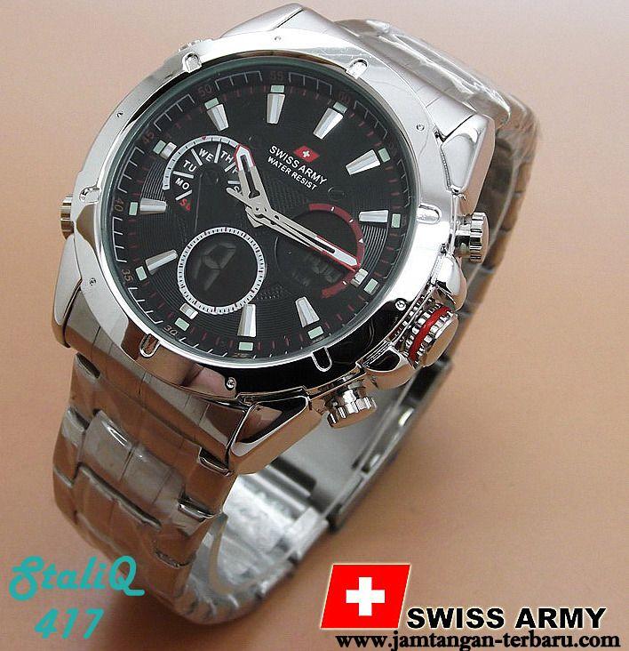 Swiss Army 3008 Black Dial Silver - Jam Tangan Terbaru | Jam Tangan Keren