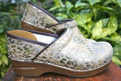 DANSKO-Animal-Print-Beige-Tan-Gold-LEATHER-Clog-Shoe-38 ...