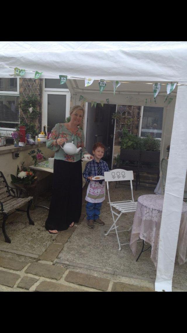 Me and my son raising teapot ! McMillan coffee morning 2012
