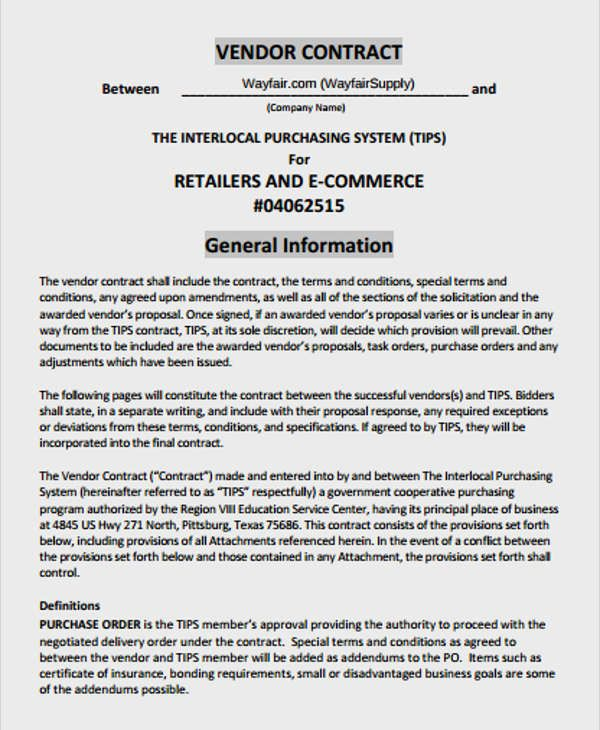 Vendor Contract Template Contract Template Rental Agreement