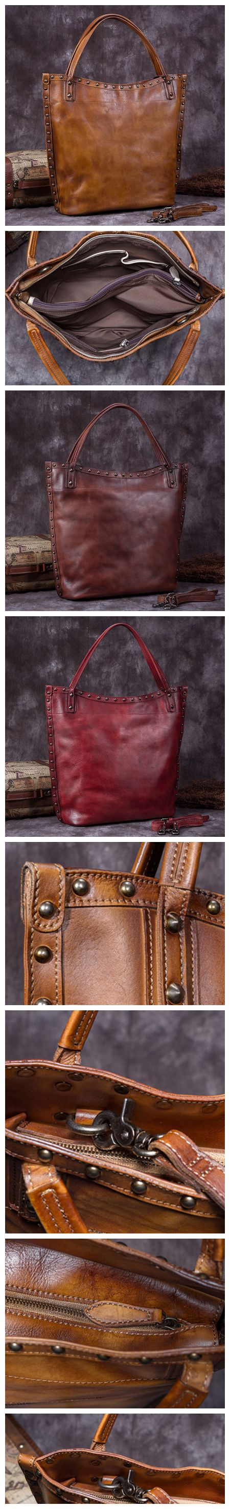 Handmade Full Grain Leather Women Tote Bag, Shopper Bag, Handbag A0050