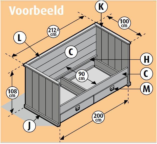 Bouwtekening voor een ledikant met lades, een 3 in 1 bankbed. >> Wordt dit jouw bed? http://bit.ly/1fauE1N