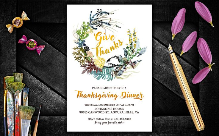 Floral Thanksgiving Invitation, Thanksgiving Dinner Invite, Thanksgiving Invitation, DIY Thanksgiving Invitation Gold, Fall Wreath Invite by PrintablesForEvents on Etsy