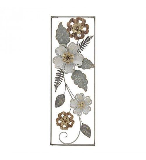 METALLIC WALL DECORATION 'FLOWERS' 31X4X90