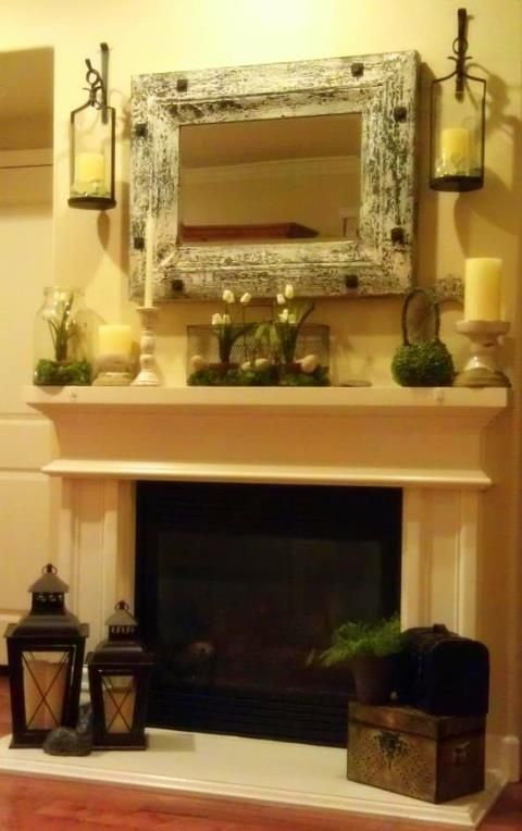 Could do this if we turned the mirror vertically?  fireplace mantle scones on each side of mirror