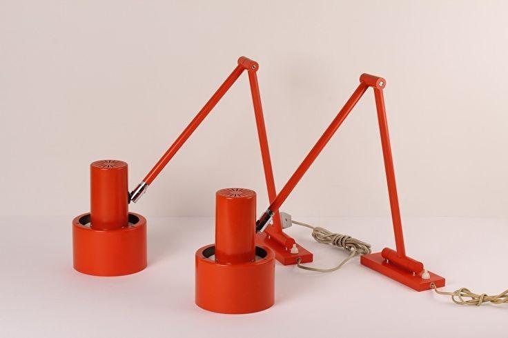 Jo Hammerborg for Fog & Morup SKALA extendible wall lights orange Scandinavian midcentury lighting