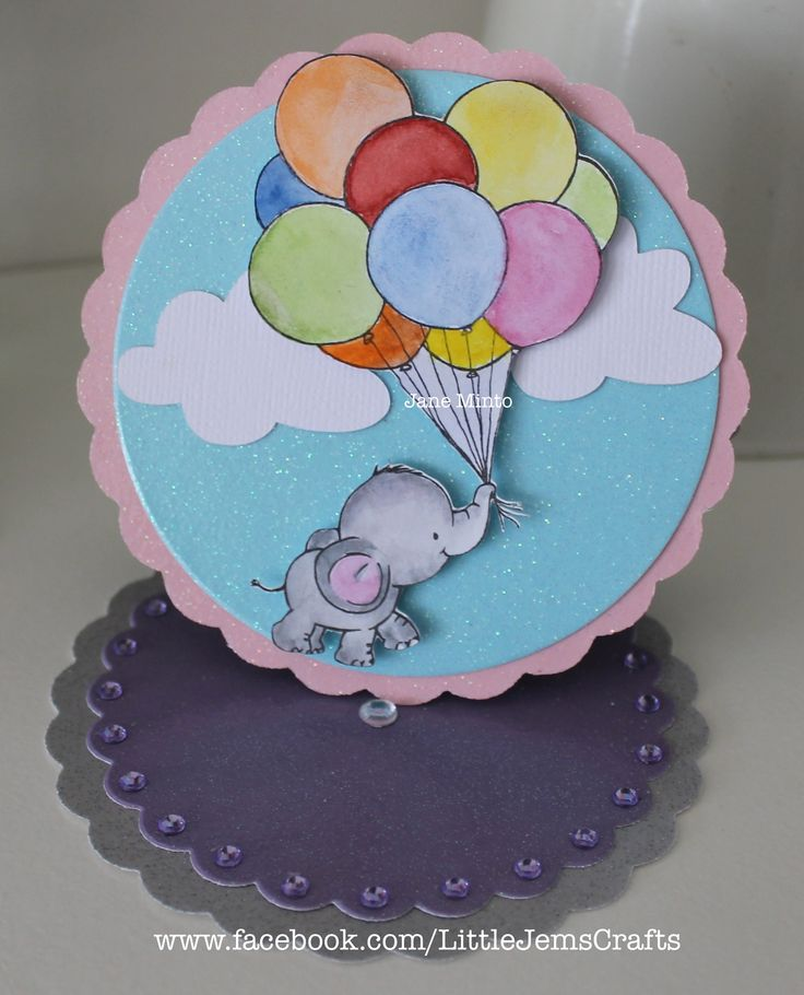 the stamped image was cut on the Scan N Cut, the clouds are from the shapes on the SnC, the easel card was made from dies. The stamp is by WIld Rose Studio, bunch of balloons.