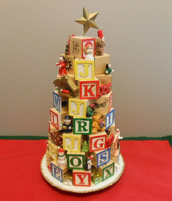 WOODEN ALPHABET BLOCK Christmas Tree With Miniature Ornaments Hand Crafted  Cute Nursery Decor Baby Tree Vintage