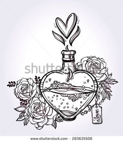 Love potion: hand drawn magic elegant heart shaped bottle with roses and flames. Tattoo art. Love, magic, romance collection. Vintage style. Isolated vector illustration.  Valentine's day concept.