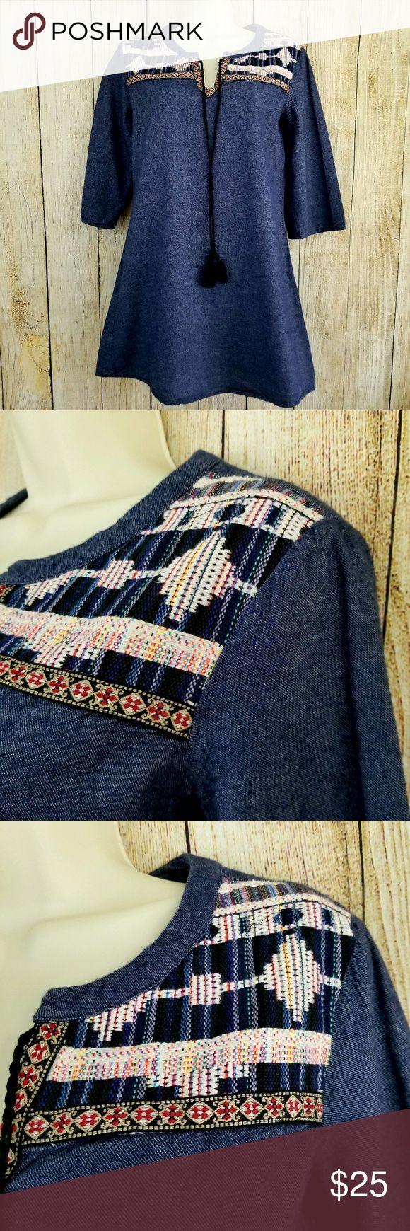 "Boho aztec denim dress Soft denim aztec boho dress. Size small P, in like new condition. 100% cotton. Perfect for festival season!   Measurements armpit to armpit 17"" length 30"" Flying Tomato Dresses"