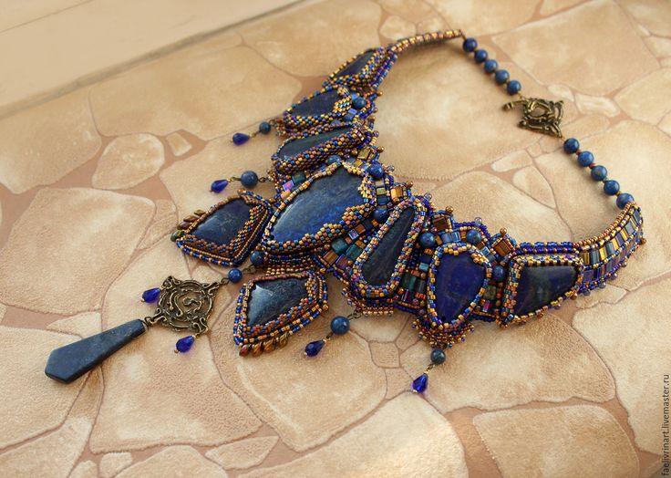 """Купить Комплект украшений  """"Туркестан"""" - колье и браслет - тёмно-синий, лазурь, золото, бронза, орнамент"""