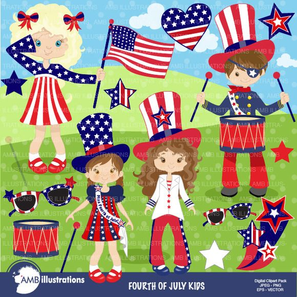 Fourth of July Kids 923 by AMBillustrations on Creative Market