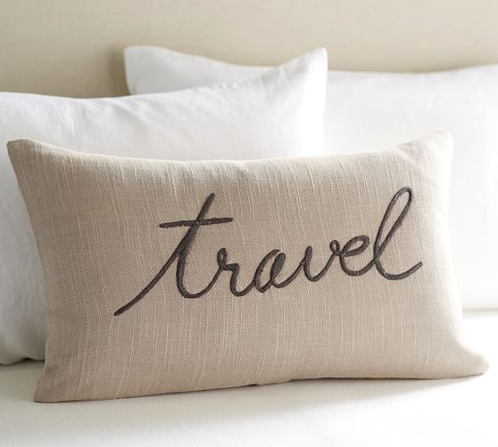 Travel Embroidered Sentiment Lumbar Pillow Cover | Pottery Barn
