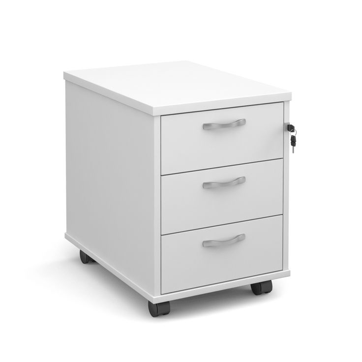 A Fantastic White Office Drawer Unit for Your Desk  Offering superb value for money, the Maestro white office pedestal with three drawers can be purchased as a standalone set or added to a purchase from our larger range of Maestro office desks. This product is in white, is mobile on wheels (or casters) and will neatly fit under your desk – check product dimensions before purchasing.  We are currently selling this item to many businesses and home office users who want a modern and clean…