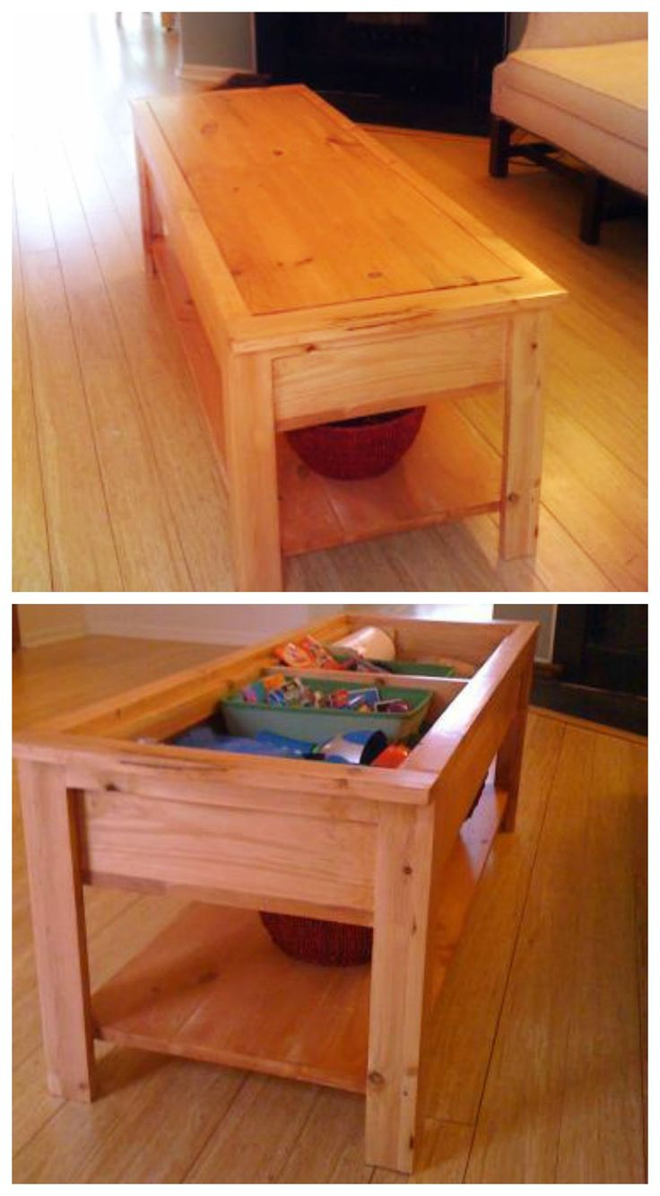Coffee Table With Hidden Storage For Toys Or Legos