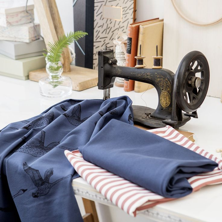 JOUTSEN, Blue Grey - Black | Nosh.fi ENGLISH | Get inspired by new NOSH fabrics for Summer 2017! Discover new colors and prints in quality organic cotton. Shop new fabrics at en.nosh.fi