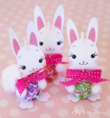 Easter bunny sucker holders (with printable) /Nyalóka nyuszik - kreatív húsvéti nyalóka csomagolás (nyomtatható) /  Mindy