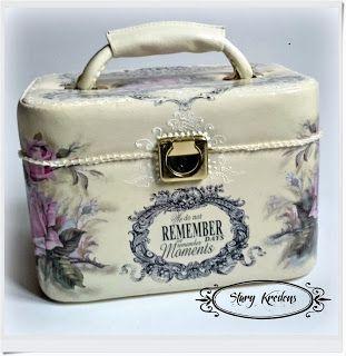 Romantyczny kuferek angielskie napisy i r??owe r??e - Decoupage.
