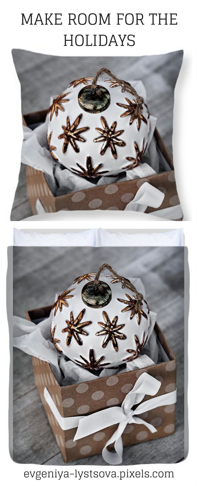Throw Pillow and Duvet Cover featuring the photograph Warm Thoughts by Evgeniya Lystsova. Opened Christmas Gift on Wooden Table, Winter Holiday Concept. Let your Gift stand out from everybody else's! #EvgeniyaLystsovaFineArtPhotography #Christmas #Bedroom #GiftIdeas #HomeDecor #InteriorDesign #DuvetCover #ThrowPillow
