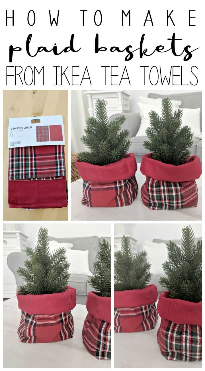 Simple Plaid Baskets From Ikea Tea Towels Northernfeeling Com Tea Towel Gift Christmas Decorations Sewing Diy Christmas Baskets