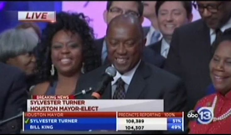 Texas State Representative Sylvester Turner won the Houston mayoral election. This was his third try. He beat Bill King in a very close election.