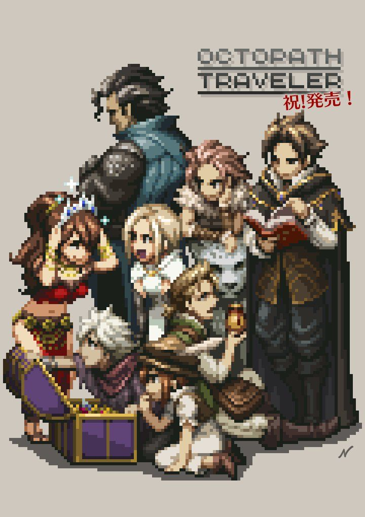 M Nishimura Hectnishi Twitter Octopath Traveler Traveler Wallpaper Pixel Art Characters