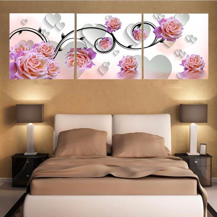 3D Pink Rose For Bedroom Living Room Canvas Prints With Different Sizes At Competitive Price