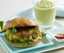 Not your traditional burger and shake! Chile crab cake with a creamy avocado milkshake