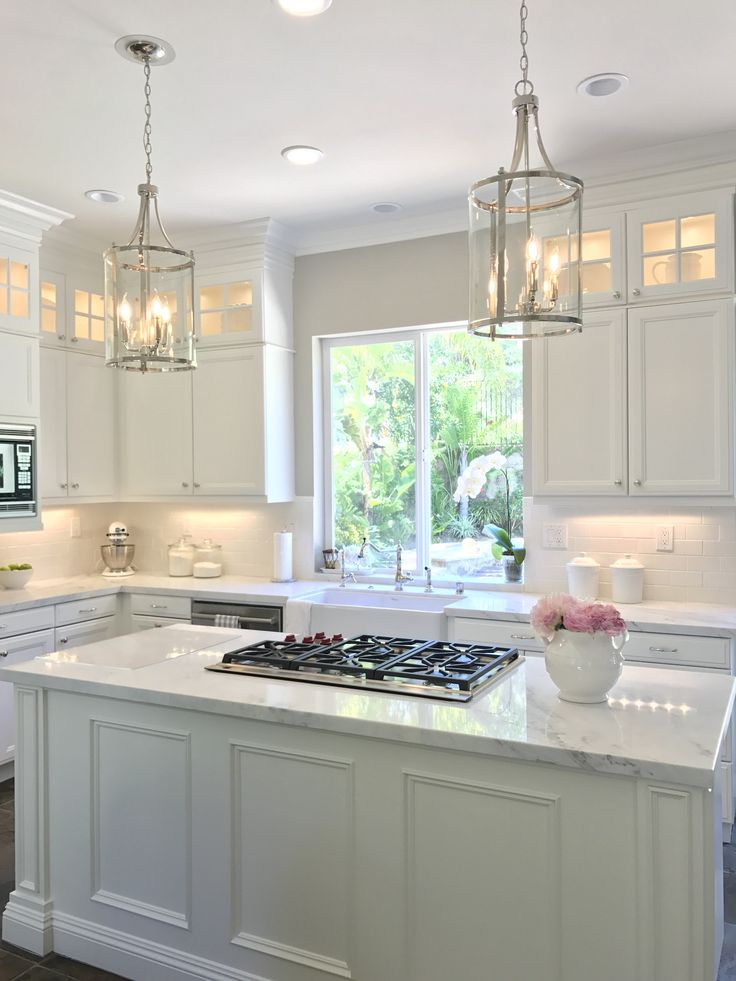 White Kitchen With Danby Marble And Subway Tile Backsplash With Small Cabinets Add Kitchen