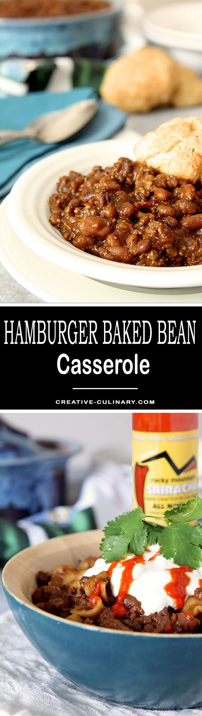 This simple Hamburger Baked Bean Casserole with Sriracha is a fantastic update to what was a staple in our home growing up. A bit of spice is nice! via @creativculinary