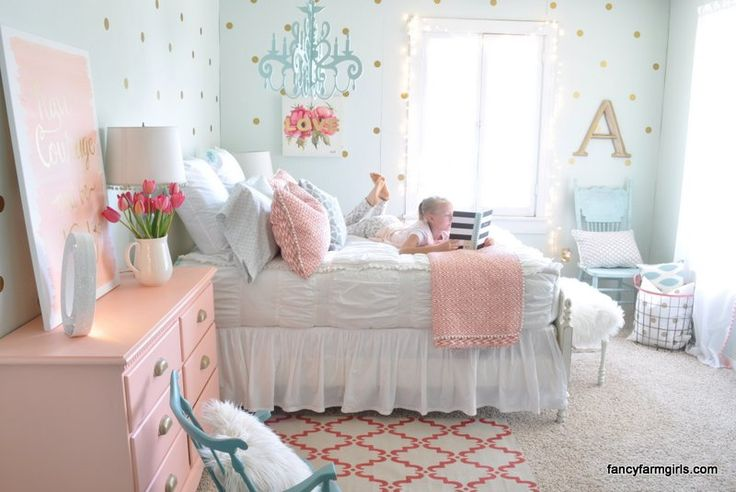 Chic White zipper bedding perfect in this shabby chic girl's bedroom!