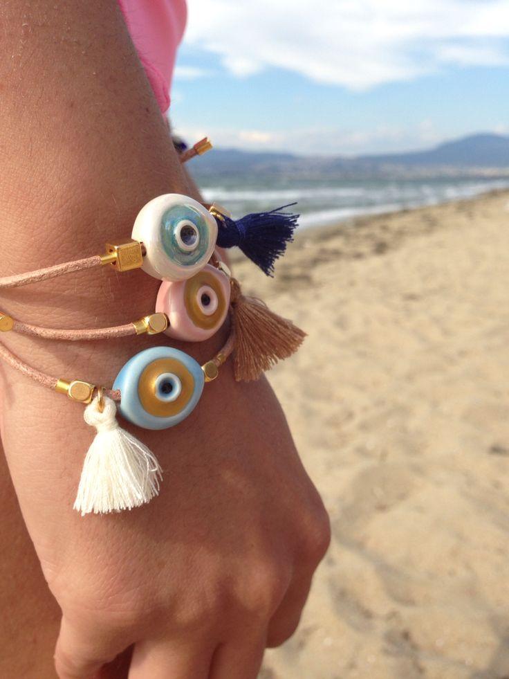 Boho, evil eye, handmade bracelet.