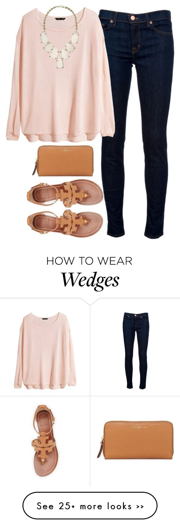 """sweater & sandals"" by tabooty on Polyvore featuring J Brand, H&M, Kendra Scott and Tory Burch"
