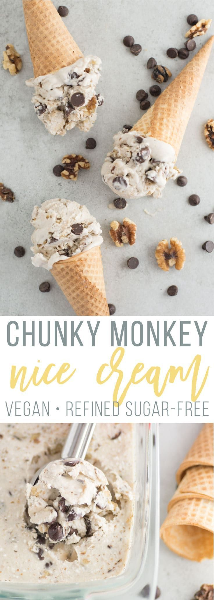 Chunky Monkey Banana Nice Cream -- This vegan dessert is so easy to make and no churn required! Packed with chocolate chips, walnuts, and a smooth banana and coconut base, this dairy-free ice cream is the perfect sweet treat! #nicecream #vegandessert #vegan #icecream #chocolate #summer   mindfulavocado