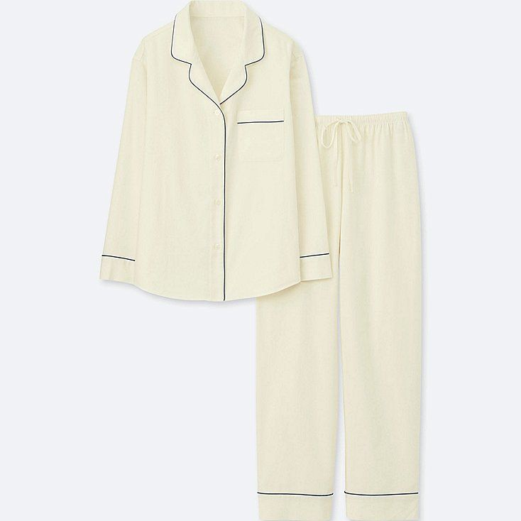 WOMEN LONG SLEEVE PAJAMAS WITH COTTON PIPING, OFF WHITE, large