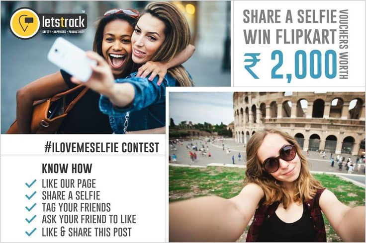 #ilovemeSelfie Contest  Share a Selfie and win Rs.2000 Flipkart Gift Voucher for 3 participants.  You also need to follow all the following steps- 1. Like our page fb.com/letstrackltd 2. Share a selfie. 3. Tag your maximum friends. 4. Ask your friends to like your pic. 5. Like & Share this post.