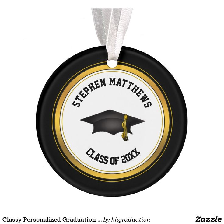 Classy Personalized Graduation Cap and Tassel Ornament | Zazzle.com