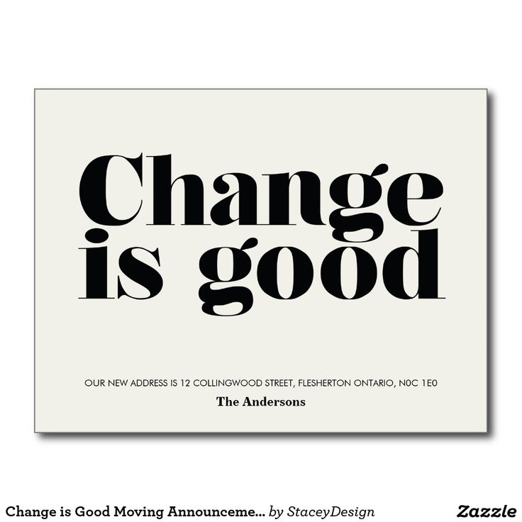 Change is Good Moving Announcement // Black Postcard                                                                                                                                                                                 More