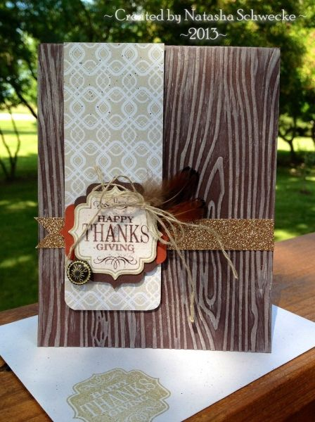 Thanksgiving card using the woodgrain embossing folder from Stampin' Up!. This would make a great masculine card.