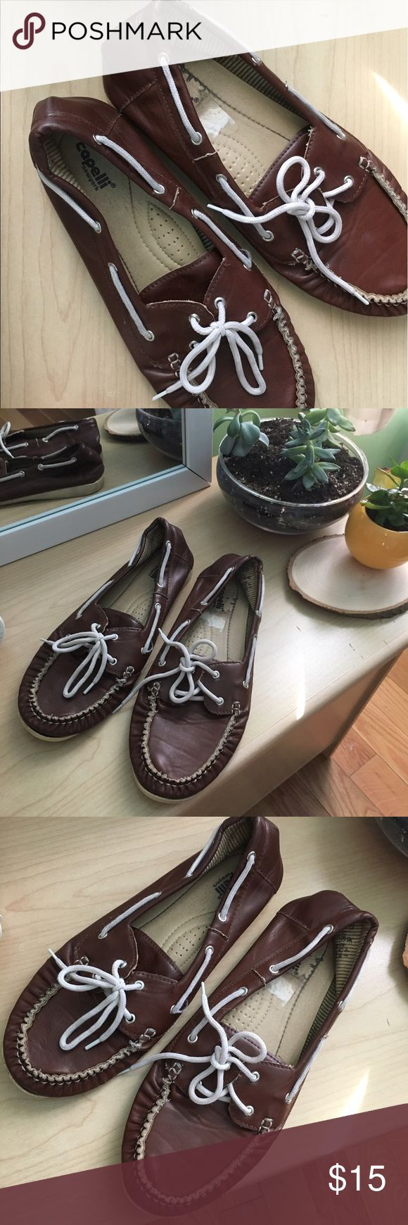 """""""Capelli"""" brown boat shoes. Bought these from Platos Closet. They have a little wear but still a lot of life left in them. Capelli of New York Shoes Flats & Loafers"""