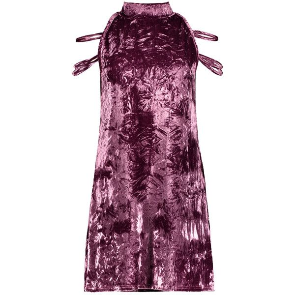 High Collar Crushed Velvet Mini Dress ($23) ❤ liked on Polyvore featuring dresses, crushed velvet dress, purple dress, mini dress, short dresses and purple mini dress