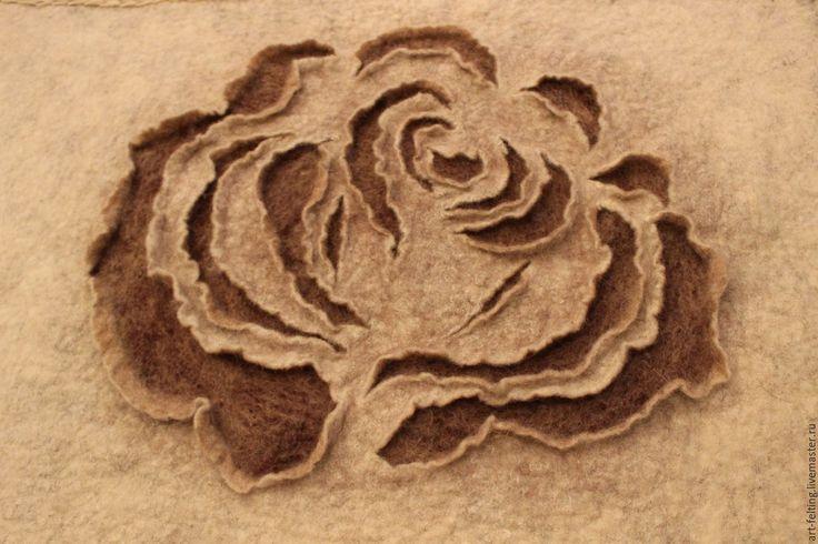 Купить Валяное панно РОЗА - комбинированный, валяное панно, подарок, панно ручной работы