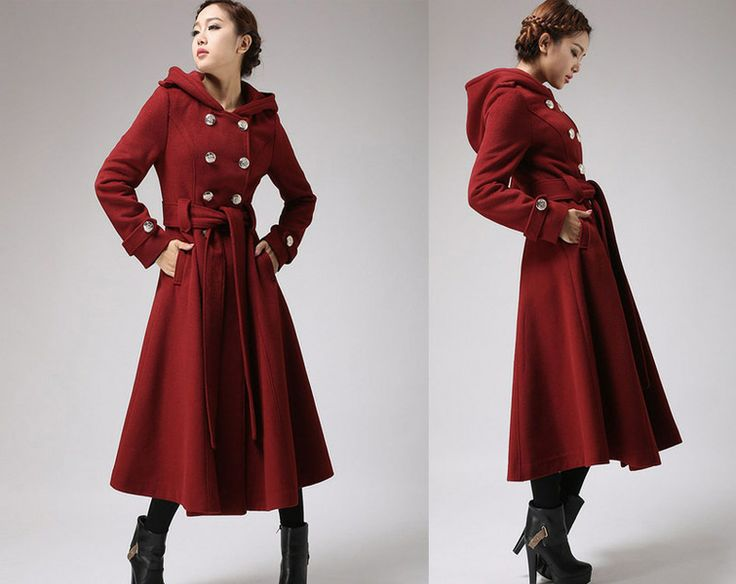 wine cashmere coat  hooded military coat (705f1) from xiaolizi fashion by DaWanda.com