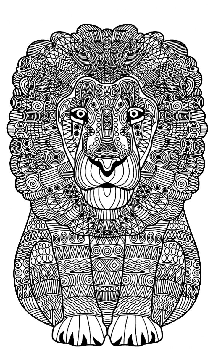 Coloring pages 365 - Zentangle Lion Coloring