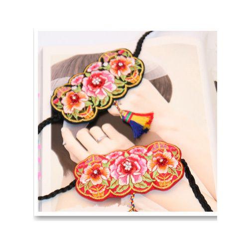 3 ROSE DAENGGI Korean tranditional HANBOK Hairband pigtail dress girl Ribbon kid