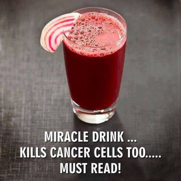 Miracle Drink Prevents The Spread Of Cancer.     Juice one each: Beetroot, Carrot, Apple & Lemon. Drink up. Be healthy.