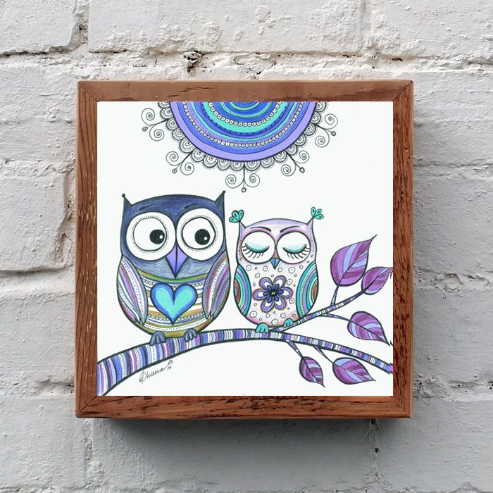 Lavender Lilac Purple Owls Wall Decor PRINT, Owls in love Drawing, Bohemian Wall Decor, Owls Poster, Girls Baby Room Decor, I love you art by DHANAdesign on Etsy